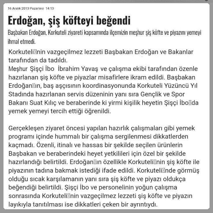 Sn.Erdoğan Yemeğinden Sonra Gazete Haberi